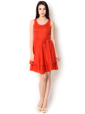 Red Colored Poly-Knight Knee-Length  Party Wear Dress For Women