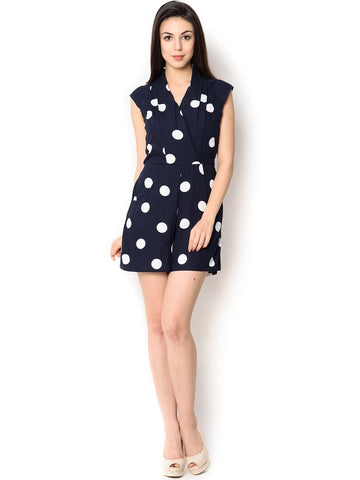 Blue With White Polkadot Viscose Short Jumpsuit