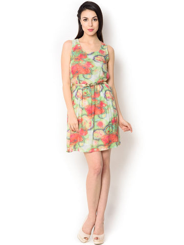 Printed Light Green And Pink Viscose Knee-Length  Party Wear Dress For Women