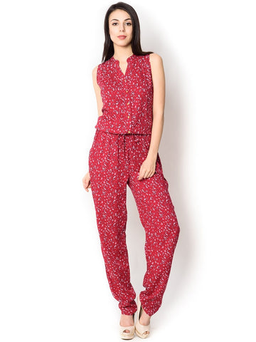 Red With Traditional Print Sleeveless Westen Jumpsuit