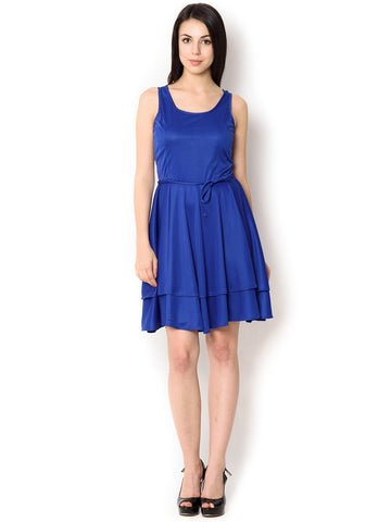 Blue Poly Viscose Party Wear Dress For Women