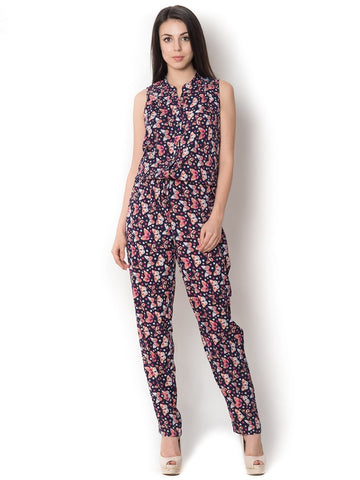 Navy Blue With Butterfly Sleeveless Long Western Stylish Jumpsuit