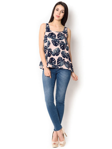 Light Pink With Gray And Navy Blue Leaf Printed Sleeveless Short Top