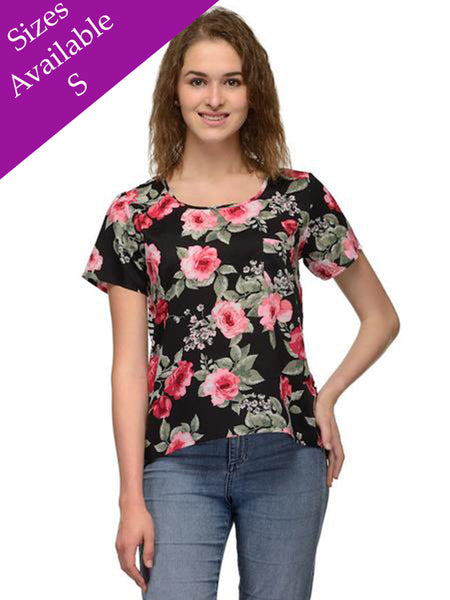 Floral Black Casual Top