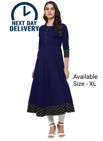 Navy Blue Color Rayon Jacquard Black Border Anarkali Kurti