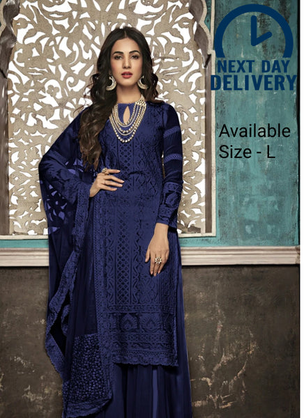 Beautiful and Designer Royal Blue Colour Straight Cut Suit