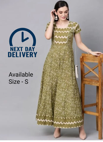 Green Color Cotton Printed Dress