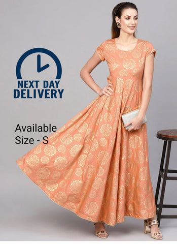 Peach Color Cotton Block Printed Anarkali Kurti