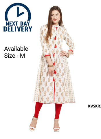 White and Red Color Cotton Printed Anarkali Kurti
