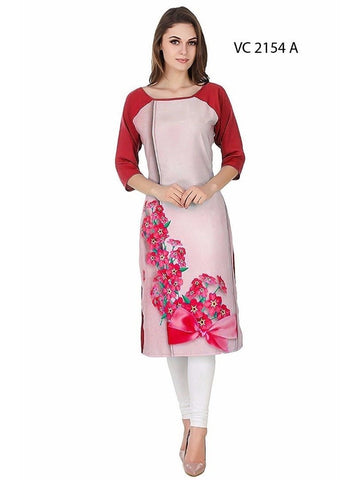 Elegant Beige & Red Color Cap Sleeve Kurti