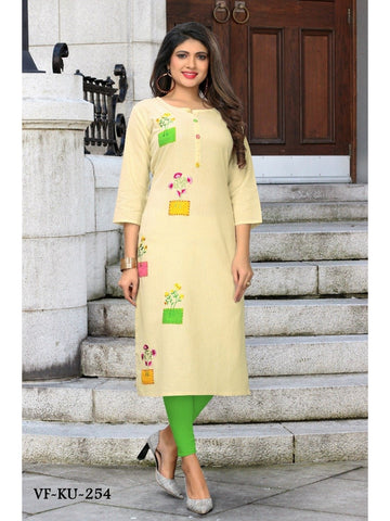 Designer Off White Color Embroidered Flax Cotton Straight Cut Kurti