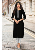 Designer Black Color Printed Slub Cotton Straight Cut Kurti