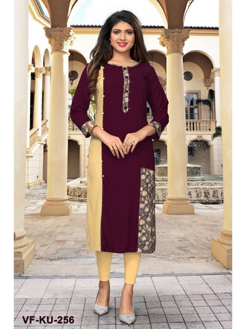 Designer Maroon Color Printed  & Handwork Rayon Straight Cut Kurti