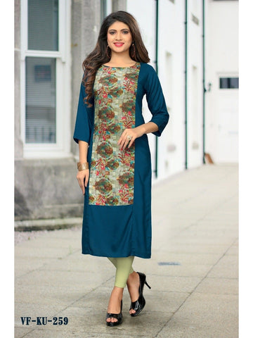 Designer Blue Color Printed Rayon Straight Cut Kurti