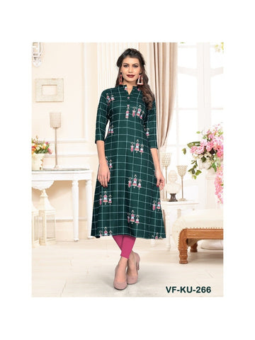 Designer Green Color Chex Print Rayon Flared Kurti