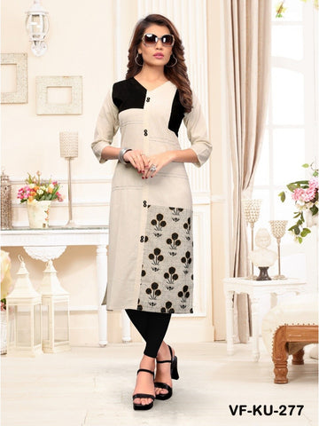 Beautiful Off White & Black Color Embroidered Cotton Straight Cut Kurti