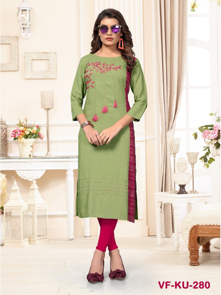 Designer Mehandi Green Color Embroidered Straight Cut Kurti