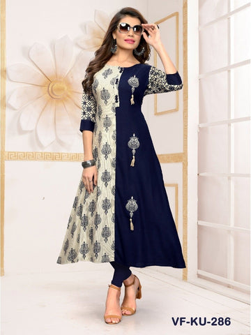 Designer Blue & Off White Color Embroidered Long Flared Kurti