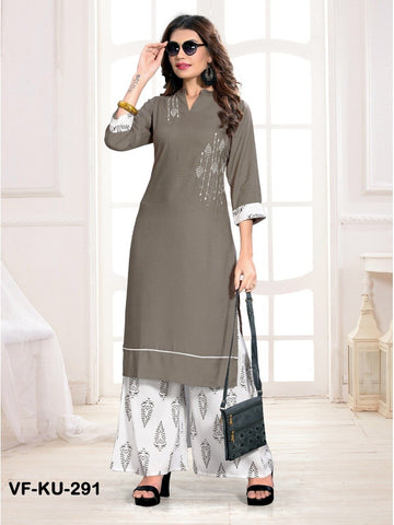 Beautiful Grey Color Embroidered Work Straight Cut Kurti with Palazzo