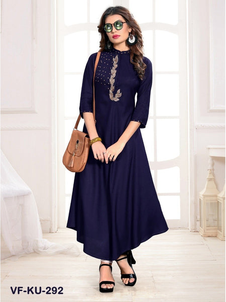 Beautiful Navy Blue Color Embroidered Work Straight Cut Kurti