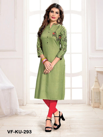 Beautiful Light Green Color Embroidered Work Straight Cut Kurti