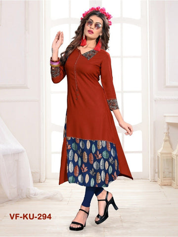 Beautiful Light Brown Color Printed & Hand Work Straight Cut Kurti