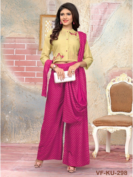 Designer Beige and Pink Color Kurti with Bottom