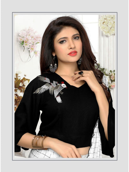 Designer Black and White Color Kurti with Bottom