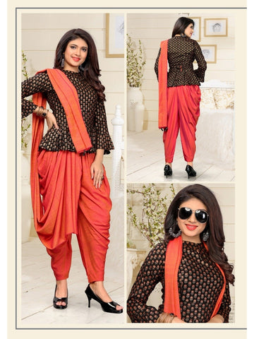 Designer Black and Orange Color Kurti with Bottom