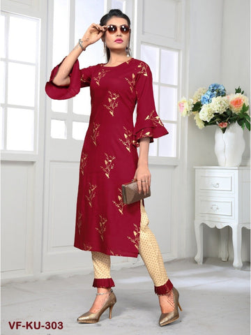 Beautiful Maroon & Beige color Straight Cut Kurti with Bottom