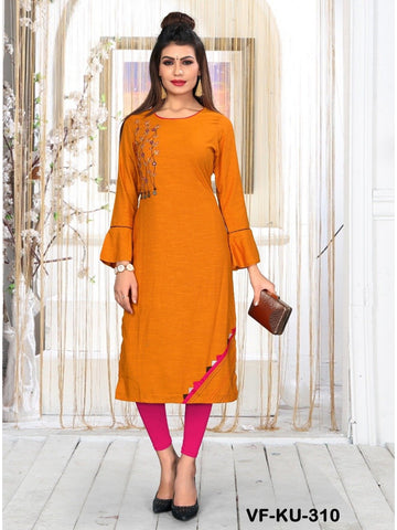 Beautiful Dark Orange color Straight Cut Kurti