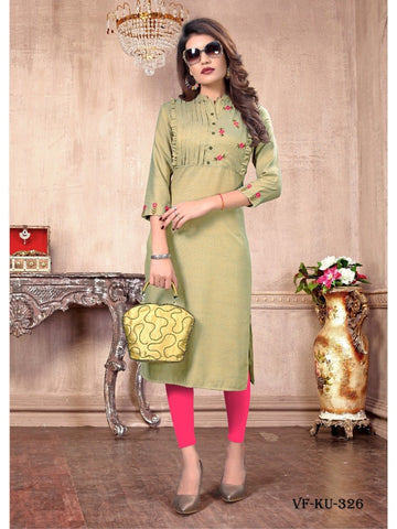 Designer and Beautiful Beige Colour Straight Cut Kurti