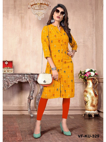 Designer and Beautiful Yellow Colour Straight Cut Kurti