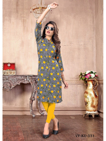 Designer and Beautiful Multi Colour Straight Cut Kurti