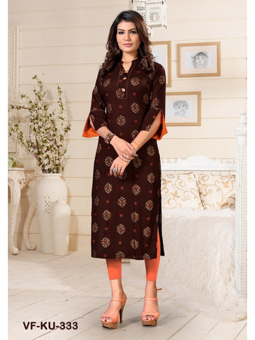 Designer and Beautiful Brown Colour Straight Cut Kurti