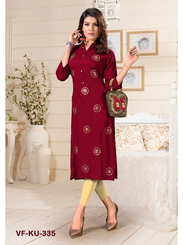 Designer and Beautiful Maroon Colour Straight Cut Kurti