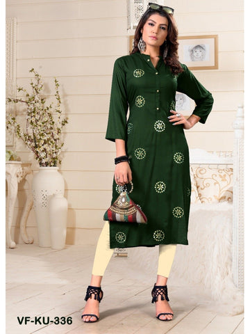 Designer and Beautiful Green Colour Straight Cut Kurti
