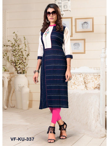 Designer and Beautiful Blue Colour Straight Cut Kurti