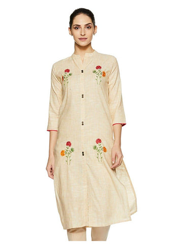 Designer and Beautiful Light Yellow Colour Straight Cut Kurti