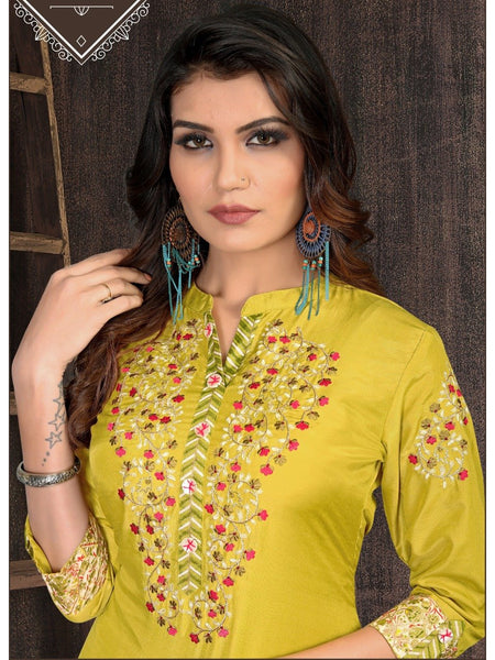 Beautiful and Designer Straight Cut Kurti with Bottom