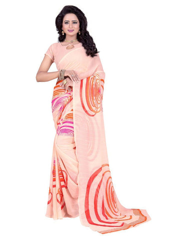 Chiffon Orange Printed Saree With Blouse