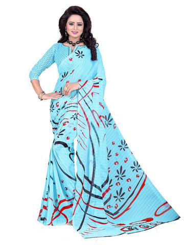 Chiffon Sky Blue Printed Saree With Blouse