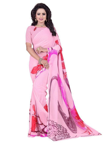 Chiffon Light Pink Printed Saree With Blouse