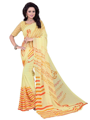 Chiffon Yellow Printed Saree With Blouse
