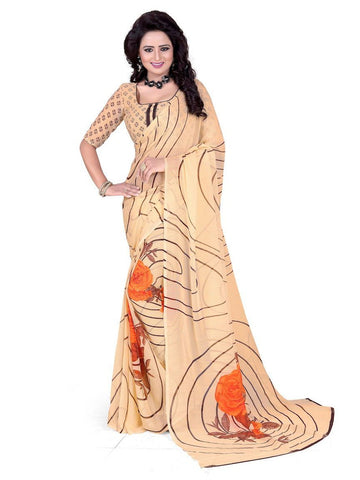 Chiffon Beige Printed Saree With Blouse