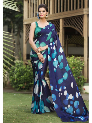 Beautiful Navy Blue Satin Georgette Printed Saree