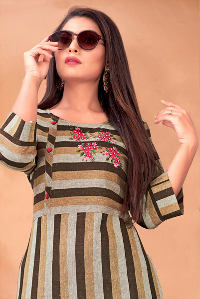 Multi Color Cotton Embroidered Straight Cut Kurti