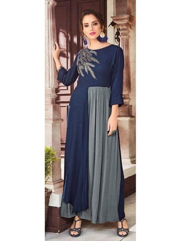 Designer Navy Blue Color Viscose Handloom Embroidered Long Straight Cut Kurti