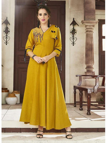 Designer Mustard Color Viscose Handloom Embroidered Long Straight Cut Kurti