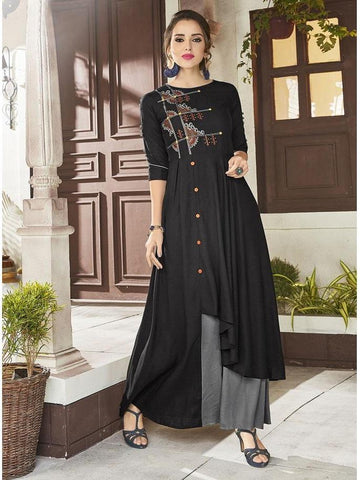Designer Black and Grey Color Viscose Handloom Embroidered Long Straight Cut Kurti